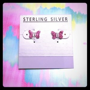 Pink Butterfly Studded Earrings